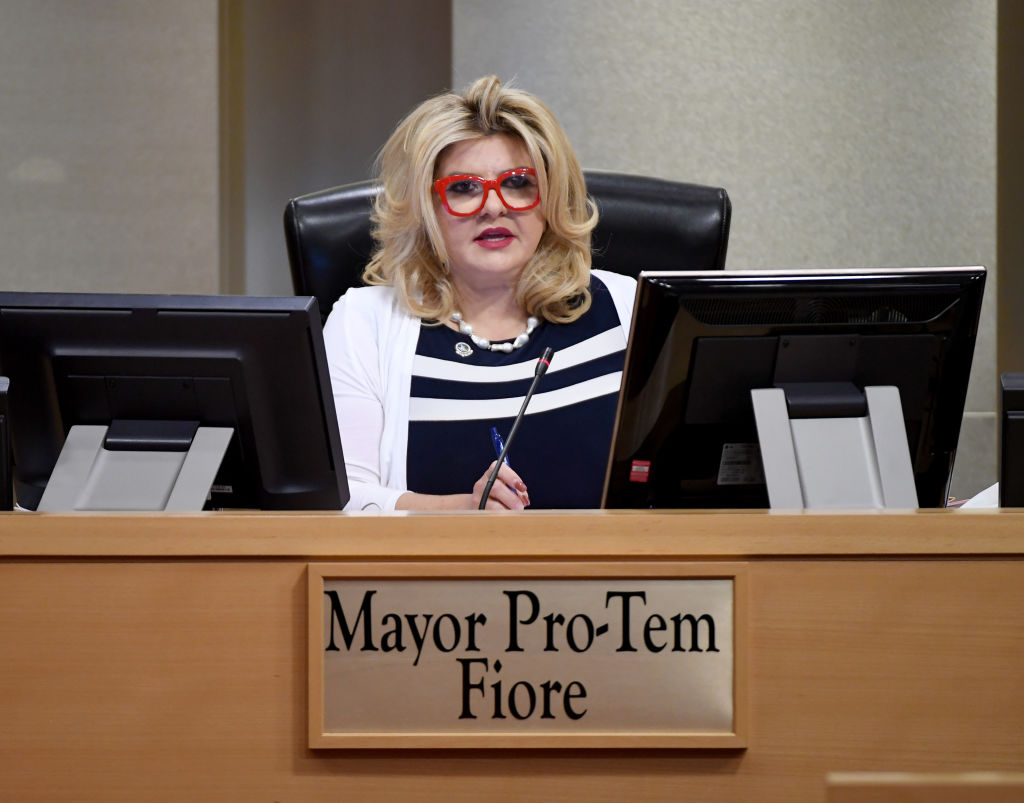 LAS VEGAS, NEVADA - MAY 20: Las Vegas City Councilwoman and Mayor Pro Tem Michele Fiore speaks during a Las Vegas City Council meeting held amid the coronavirus pandemic at Las Vegas City Hall on May 20, 2020 in Las Vegas, Nevada. Due to concerns about COVID-19, safety precautions were put in place, including social distancing inside the chambers, having hand sanitizer available and medically screening anyone from the public attending. (Photo by Ethan Miller/Getty Images)