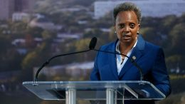 Chicago mayor Lori Lightfoot speaks during the groundbreaking ceremony for the Obama Presidential Center at Jackson Park on September 28, 2021 in Chicago, Illinois. - The 700-million-dollar project has been six years in the making and the center is scheduled to open in 2025. (Photo by Kamil Krzaczynski / AFP) (Photo by KAMIL KRZACZYNSKI/AFP via Getty Images)