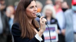 CHARLESTON, SC - OCTOBER 31: Republican congressional candidate Nancy Mace speaks to the crowd at an event with Sen. Lindsey Graham at the Charleston County Victory Office during Grahams campaign bus tour on October 31, 2020 in Charleston, South Carolina. Graham is in a closely watched race against democratic challenger Jaime Harrison. (Photo by Michael Ciaglo/Getty Images