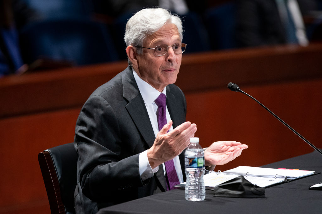 WASHINGTON, DC - OCTOBER 21: U.S. Attorney General Merrick Garland testifies at a House Judiciary Committee hearing at the U.S. Capitol on October 21, 2021 in Washington, DC. Garland fielded many questions regarding first amendment issues related to school board meetings and efforts to prevent violence against public officials. (Photo by Greg Nash-Pool/Getty Images)