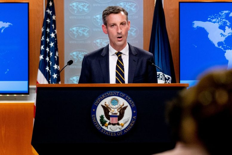 """US State Department spokesman Ned Price speaks on the situation in Afghanistan at the State Department in Washington, DC, on August 18, 2021. - The US is pressing the Taliban to let Afghans flee through the US-controlled airport after violations of their promises, Sherman said Wednesday. """"We have seen reports that the Taliban, contrary to their public statements and their commitments to our government, are blocking Afghans who wish to leave the country from reaching the airport,"""" Sherman told reporters. (Photo by Andrew Harnik / POOL / AFP) (Photo by ANDREW HARNIK/POOL/AFP via Getty Images)"""