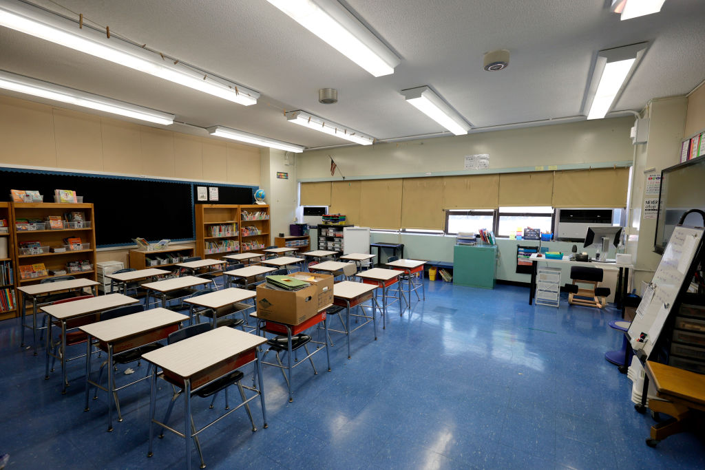 NEW YORK, NEW YORK - SEPTEMBER 02: An empty classroom at Yung Wing School P.S. 124 shows that a teacher has prepared for the start of the school year on September 02, 2021 in New York City. All NYC public school students will return to in-person classes this month for the 2021-2022 school year, except for when COVID-positive kids must quarantine at home. Surveillance testing will be conducted every other week in each school building and will randomly test 10 percent of all students whose parents have consented. (Photo by Michael Loccisano/Getty Images)