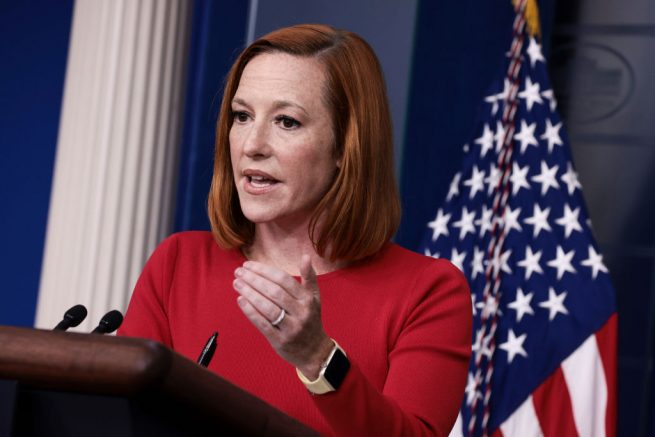 WASHINGTON, DC - SEPTEMBER 28: White House Press Secretary Jen Psaki gestures as she speaks at a press briefing in the James Brady Press Briefing Room of the White House on September 28, 2021 in Washington, DC. Psaki answered questions on a range of topics including the Senate Armed Services Committee hearing with U.S. Secretary of Defense Lloyd Austin and Chairman of the Joint Chiefs of Staff Gen. Mark Milley. (Photo by Anna Moneymaker/Getty Images)