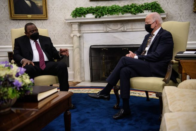 US President Joe Biden meets with his Kenyan counterpart Uhuru Kenyatta in the Oval Office at the White House in Washington, DC, on October 14, 2021. (Photo by Nicholas Kamm / AFP) (Photo by NICHOLAS KAMM/AFP via Getty Images)